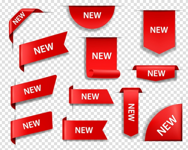 Etichette rosse del nuovo prodotto, cartellini dei prezzi e banner o segnalibri del nastro della pagina web 3d realistici vettori impostati. decorazione angolo banner web, etichette di vendita dello shopping, modelli di adesivi di promozione sconto