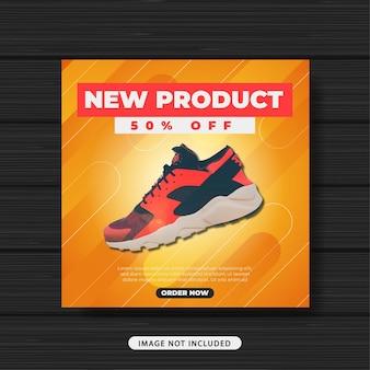 Nuovo prodotto sneakers vendita promozione social media post template banner