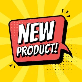 Nuovo adesivo del prodotto, etichetta. icona della bolla di fumetti di vettore isolata su uno sfondo blu.
