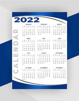 Nuovo modello di progettazione del calendario aziendale professionale 2022