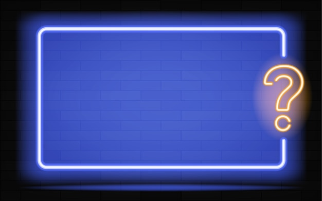 Nuova insegna al neon realistica del logo della cornice quiz per la decorazione e il rivestimento sullo sfondo scuro della parete