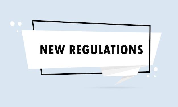 Nuove normative. insegna del fumetto di stile di origami. modello di disegno dell'autoadesivo con il testo dei nuovi regolamenti. vettore env 10. isolato su priorità bassa bianca.