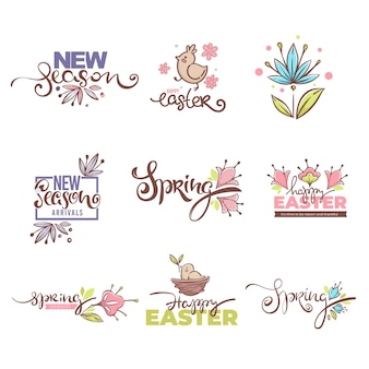 Nuovi arrivi di stagione, logo ester, simboli e icone primaverili. composizione di lettere disegnate a mano con elementi primaverili floreali