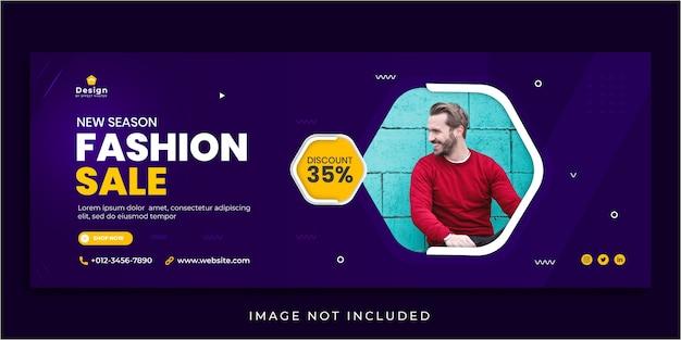 Nuova stagione di vendita di moda post sui social media e modello di banner web
