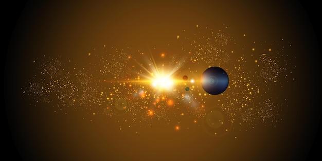 Nuova stella sole luminoso vista dallo spazio.