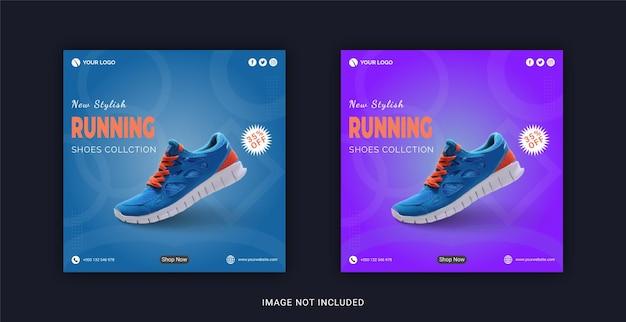 Nuova collezione di scarpe da corsa alla moda banner instagram post sui social media