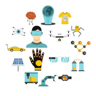 Set di icone di nuove tecnologie, stile piano