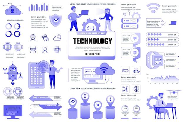 Elementi infografici di nuove tecnologie diversi diagrammi grafici servizio it