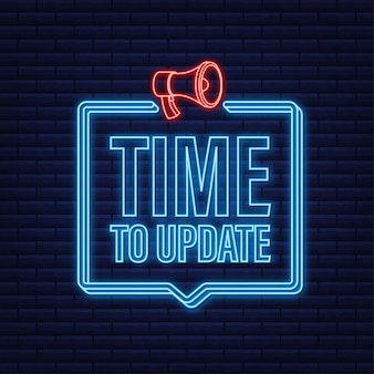 Nuovo banner di aggiornamento in stile moderno. icona al neon. web design. illustrazione di riserva di vettore.