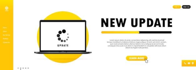 Nuovo aggiornamento per notebook. processo di installazione sullo schermo del monitor. vettore su sfondo bianco isolato. eps 10