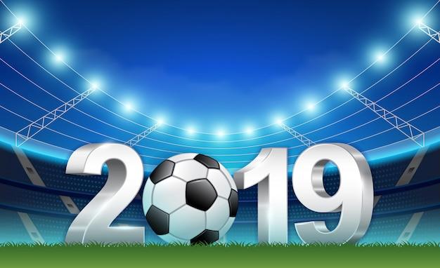 Modello di banner del nuovo anno 2019 per il calcio e il calcio sportivo