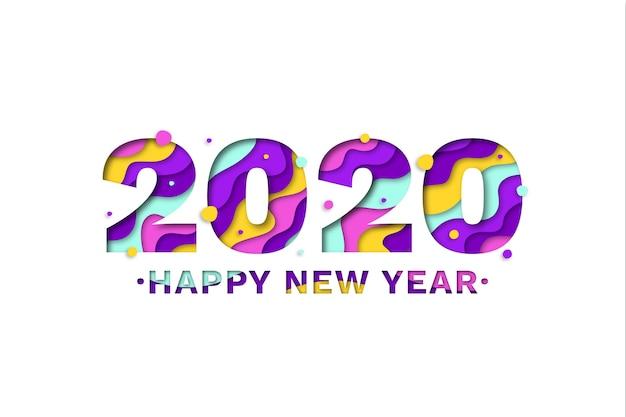 Sfondo del nuovo anno 2020 in stile carta Vettore Premium