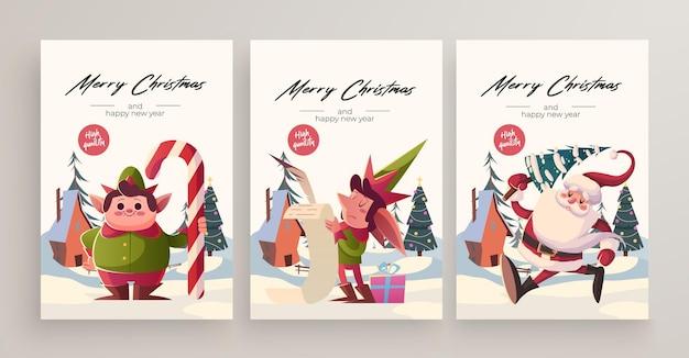 Collezione di biglietti di auguri di natale e capodanno 2020. simpatici personaggi e situazioni a tema natalizio