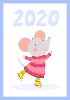 Modello di cartolina d'auguri di vettore piatto mouse carino nuovo anno 2020