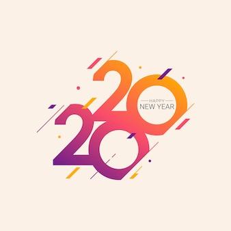 Cartolina d'auguri dell'illustrazione di vettore del nuovo anno 2020 Vettore Premium