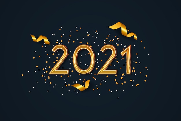 Sfondo di nuovo anno 2021 con coriandoli dorati