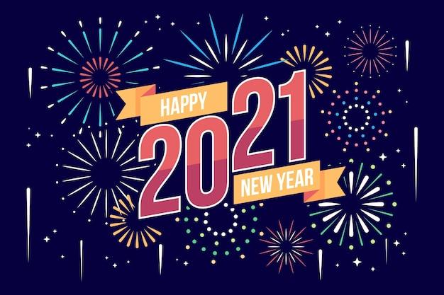 Nuovo anno 2021 in design piatto