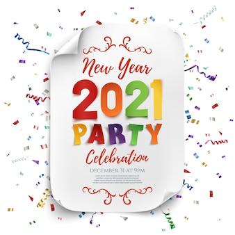 Modello di poster festa di capodanno 2021 con coriandoli e nastri colorati.