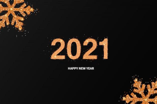 Nuovo anno 2021 sfondo splendente con fiocchi di neve dorati