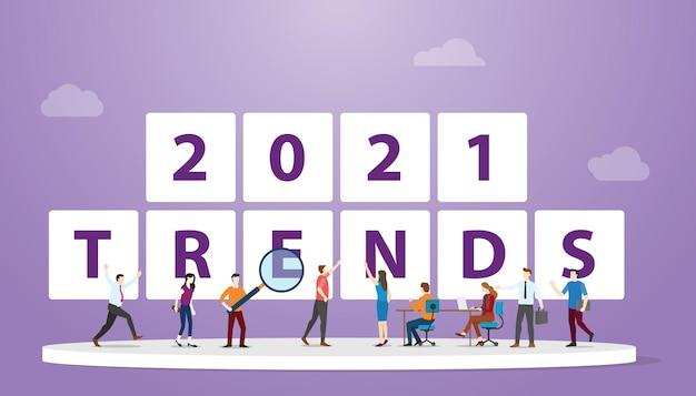 Tendenze del nuovo anno 2021 con analisi e discussione del team di persone