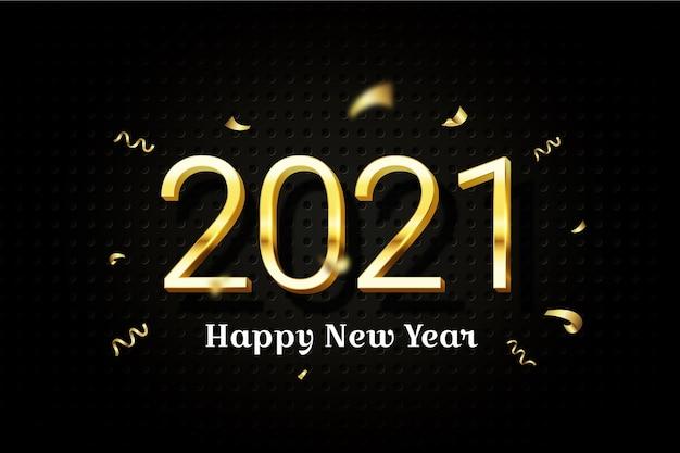 Nuovo anno 2021 con effetto dorato
