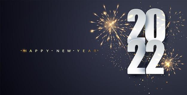 Banner di capodanno 2022 sullo sfondo dei fuochi d'artificio. cartolina d'auguri di lusso felice anno nuovo. priorità bassa di celebrazione dei fuochi d'artificio.
