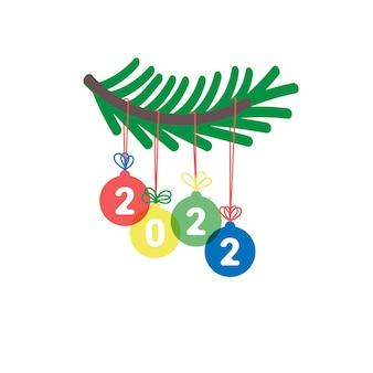 Capodanno 2022 decorazione natalizia con ramo di abete e numeri colorati