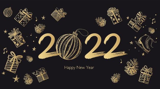Set di scatole regalo capodanno 2022 illustrazione disegnata a mano