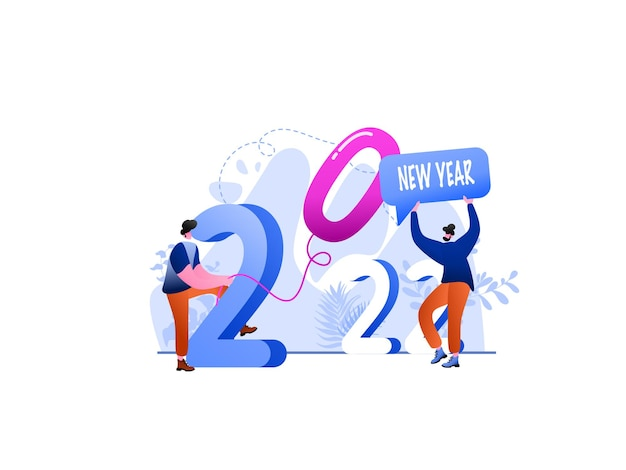 Illustrazione piatta dell'obiettivo del nuovo anno 2022, perfetta per landing page, modelli, interfaccia utente, web, app mobile, poster, banner, volantini, sviluppo. vettore