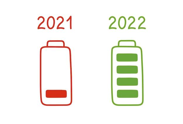 Felice anno nuovo 2022, caricando la batteria al massimo. fine anno 2021 di concetto. carica della batteria in stile cartone animato