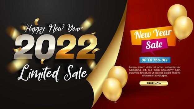 Modello di banner moderno di vendita limitata del nuovo anno 2022
