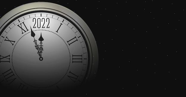 Anno nuovo 2022 e illustrazione di buon natale con orologio rotondo sfocato