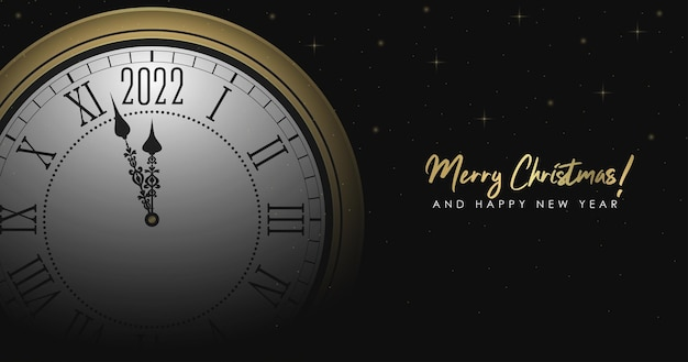 Anno nuovo 2022 e illustrazione di buon natale con orologio rotondo dorato e decorazioni scintillanti d'oro