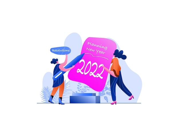New year 2022 planning flat illustration, perfetto per landing page, modelli, interfaccia utente, web, app mobile, poster, banner, volantini, sviluppo. vettore