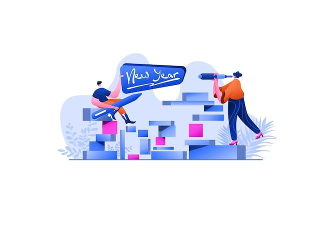 New year 2022 project flat illustration, perfetto per landing page, modelli, interfaccia utente, web, app mobile, poster, banner, volantini, sviluppo. vettore