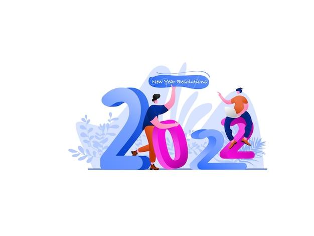 Illustrazione piatta per la risoluzione del nuovo anno 2022, perfetta per landing page, modelli, interfaccia utente, web, app mobile, poster, banner, volantini, sviluppo. vettore