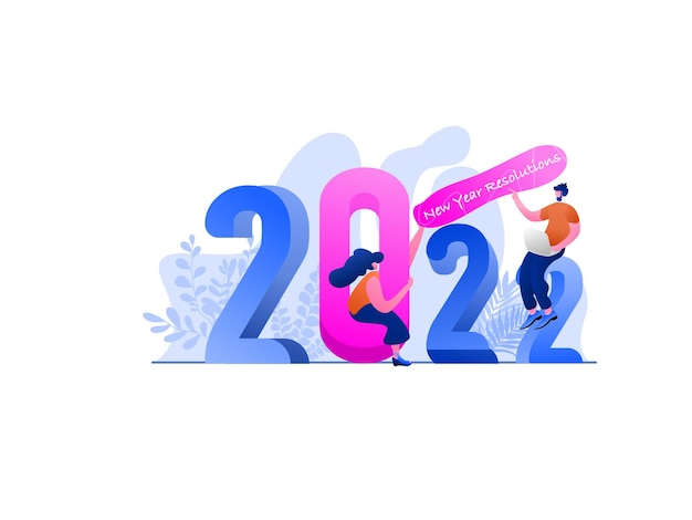 Illustrazione piatta con risoluzione del nuovo anno 2022, perfetta per landing page, modelli, interfaccia utente, web, app mobile, poster, banner, volantini, sviluppo. vettore