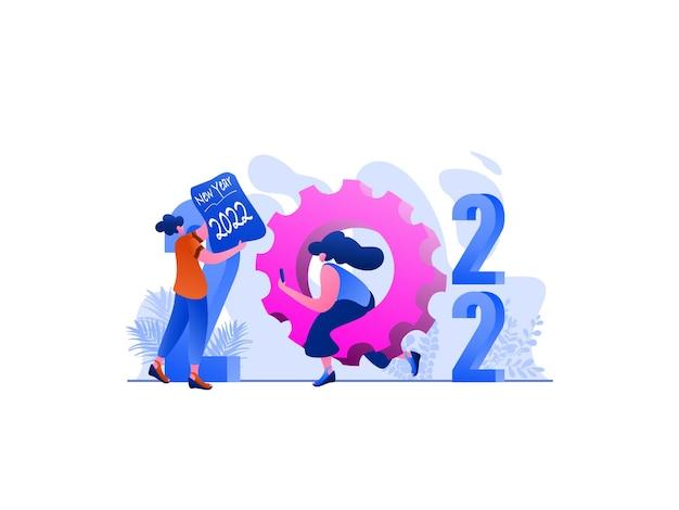 Illustrazione piatta del servizio di capodanno 2022, perfetta per landing page, modelli, interfaccia utente, web, app per dispositivi mobili, poster, banner, volantini, sviluppo. vettore