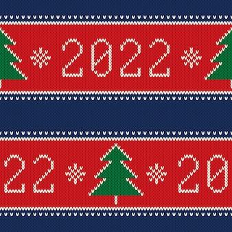 Anno nuovo 2022 vacanze invernali a maglia senza cuciture sfondo con alberi di natale e fiocchi di neve