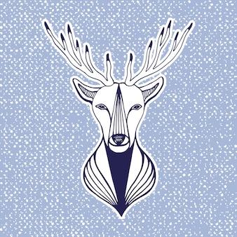 Illustrazione di nuovo anno con testa di cervo. stampa, adesivo o elemento per la progettazione. illustrazione vettoriale di line art vector hipster.