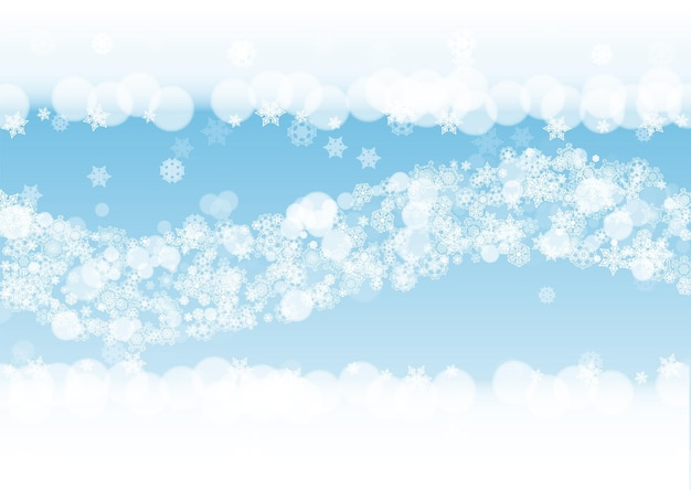 Fondo del nuovo anno con i fiocchi di neve gelidi bianchi. contesto di nevicata orizzontale. sfondo di capodanno invernale per striscioni, carte. neve che cade con bokeh e fiocchi per offerte speciali e saldi.