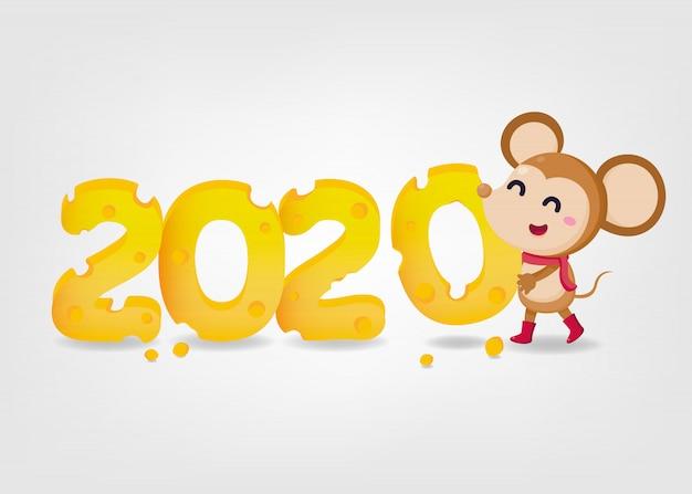Banner di capodanno. felice anno nuovo 2020. l'anno del topo. 2020 con burro e topo carino su sfondo bianco.
