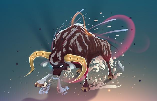 Toro di capodanno con le corna d'oro