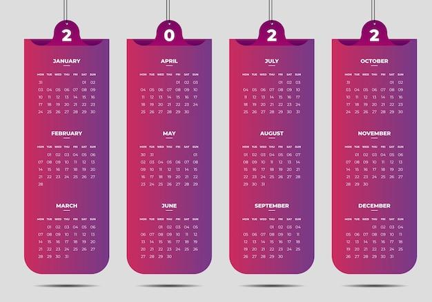 Calendario del nuovo anno in stile business