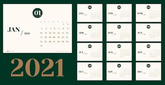 Modello di pianificazione del calendario del nuovo anno in stile semplice da tavolo minimale con numero di struttura del mese di marmo, pianificatore di eventi festivi, settimana inizia domenica.