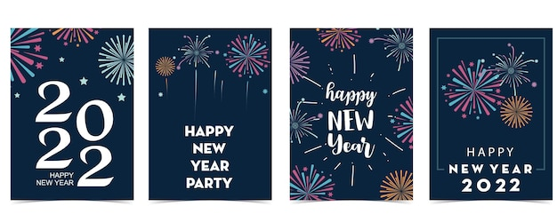 Collezione di carte di capodanno con fuochi d'artificio, cornice, stella. illustrazione vettoriale per poster, cartoline, striscioni, copertina