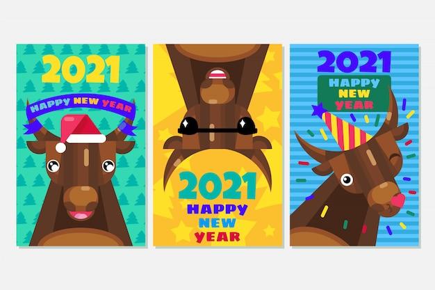 Set di carte di capodanno con tori. segno cinese 2021