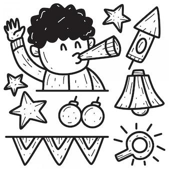 Modello di disegno di doodle del fumetto di nuovo anno