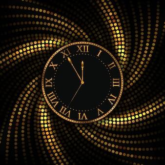 Sfondo natale e capodanno orologio d'oro