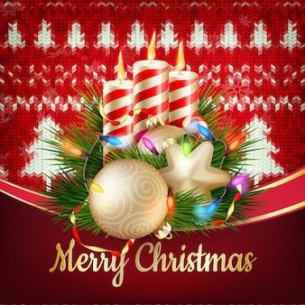 Decorazione natalizia di capodanno. modello di natale su sfondo a maglia. illustrazione per capodanno, natale, vacanze invernali, capodanno, silvestro, file ecc. incluso
